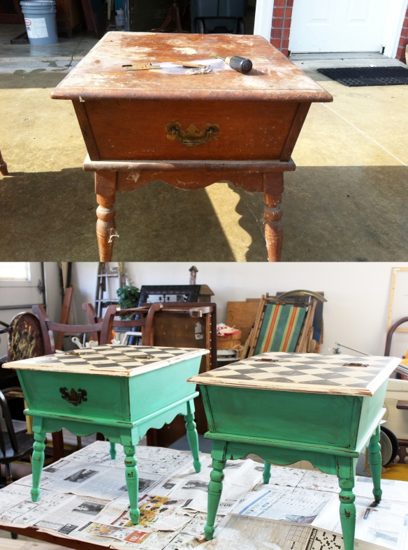 Step away from the cobwebs Charlotte... Refurbed end-tables...